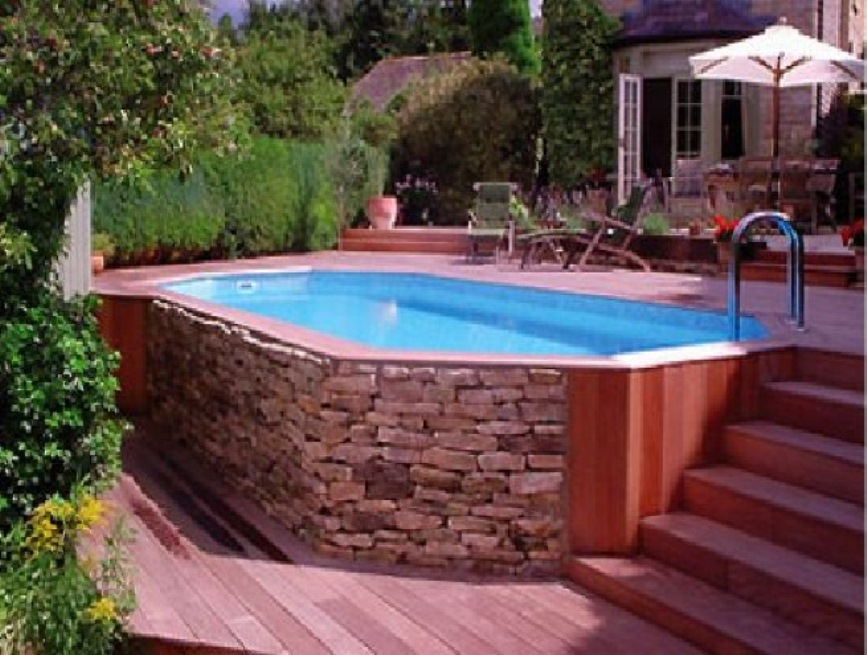 Above ground pools with decks and relevant setup wilson for Above ground pool setup ideas