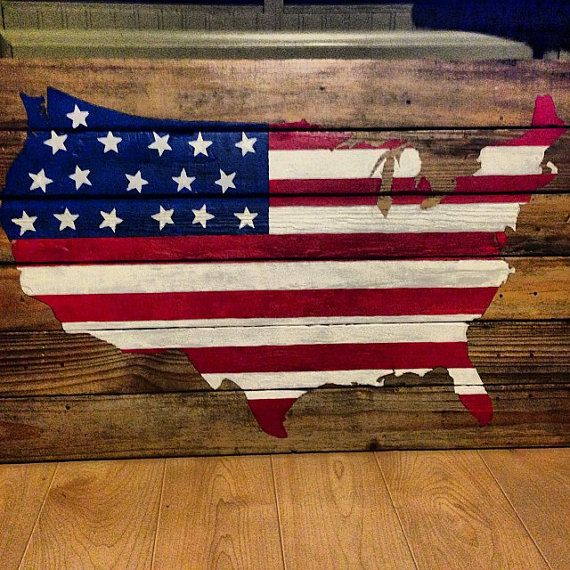 Pallets painted to resemble the American flag