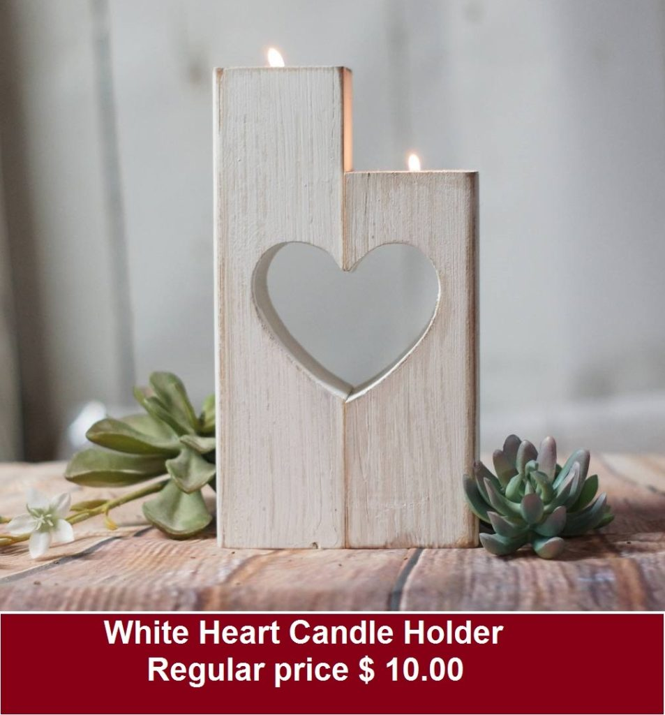 White Heart Candle Holder Wooden
