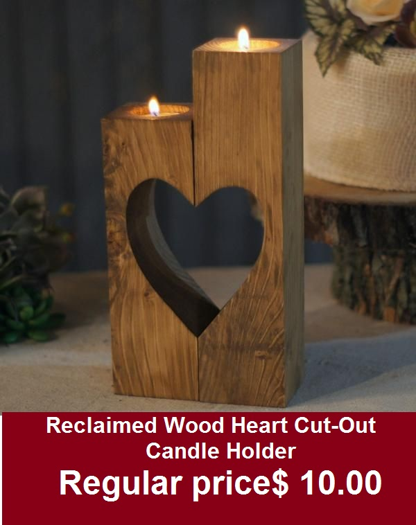 Reclaimed Wood Heart Cut-Out Candle Holder