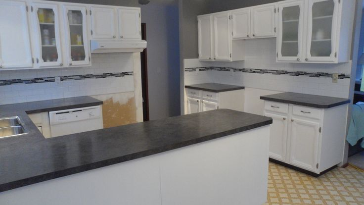 White Kitchen Cabinets With Grey Subway Tile Backsplash